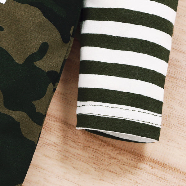 """Mr.Camo and Stripes""  Hooded Romper"