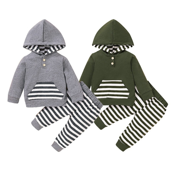 """Stripes and Pockets"" Hooded Set"