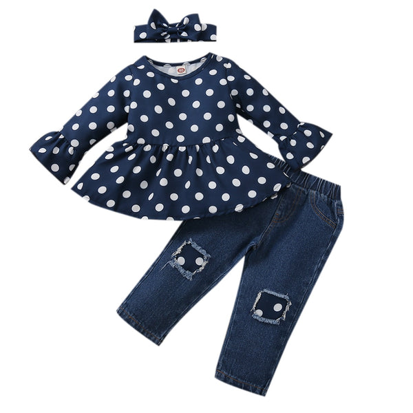 POLKA AND PATCH Denim 3 Piece Set