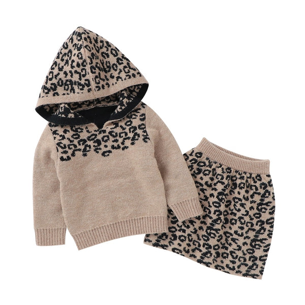 Cheetah Knit Skirt Set