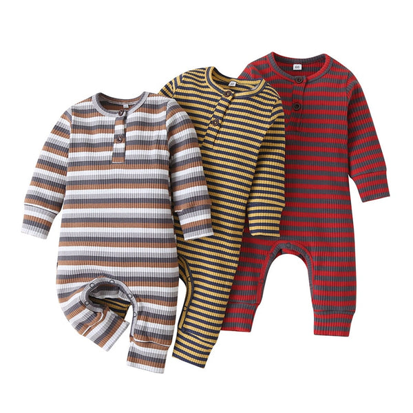 Ribbed Stripes Boys Romper