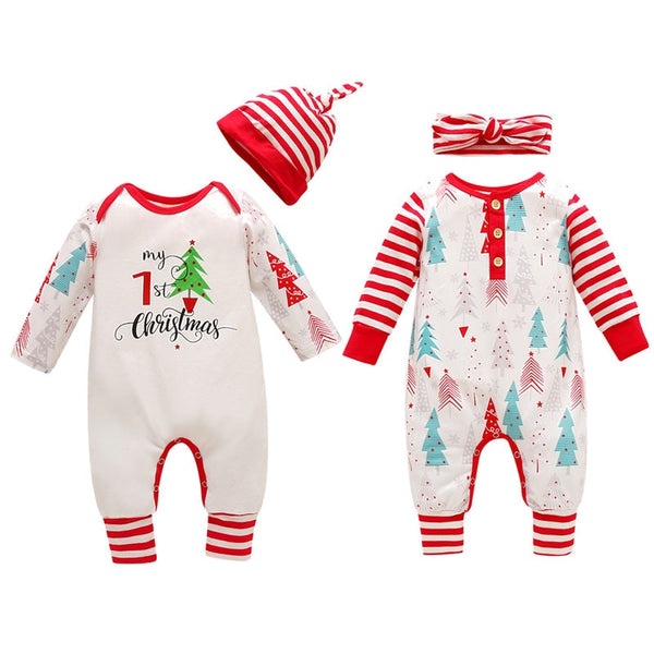 Trees and Stripes Xmas Romper