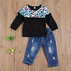 Butterfly Sleeve Leopard and Denim Distressed Set