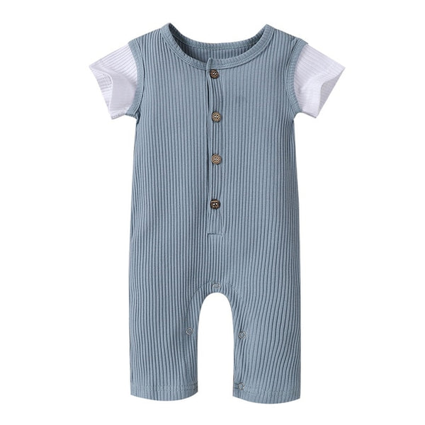 Solids Mesh Sleeve Button Romper