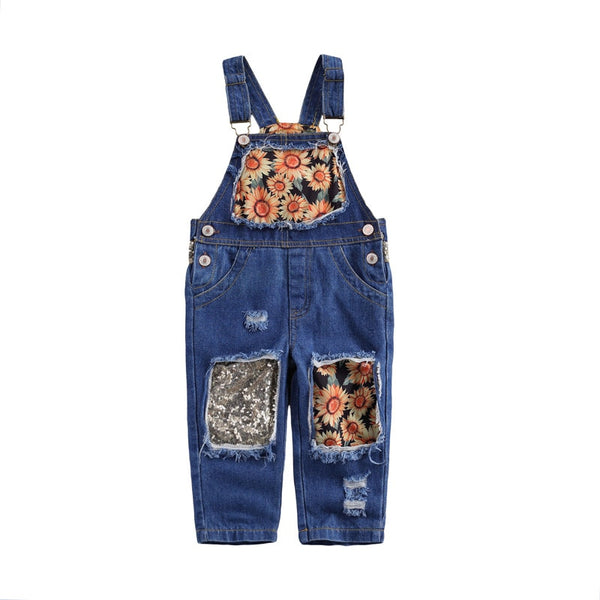 Sunflower Sparkle Overalls 2T - 7T