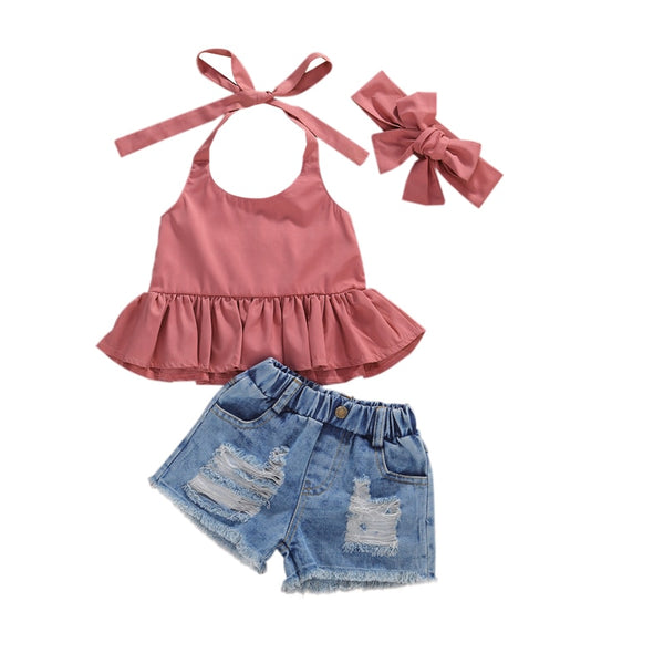 Posey Halter Denim Set