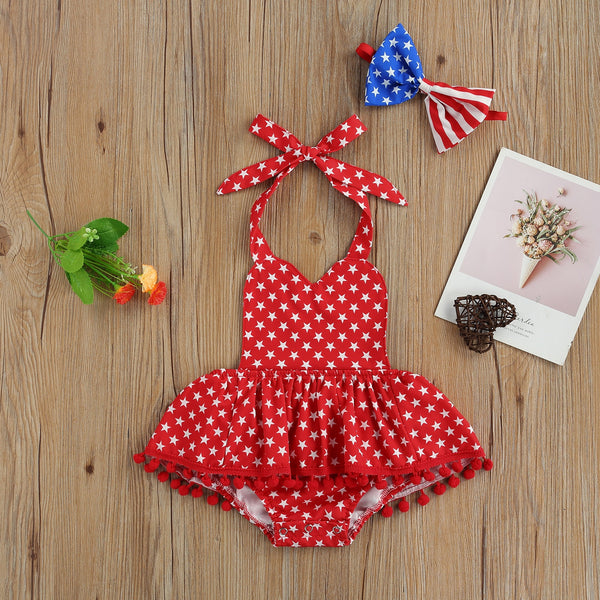 STARZ Halter Ruffle Romper with Bow