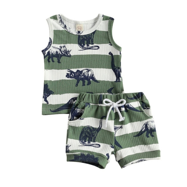 Green Stripe Dino Set