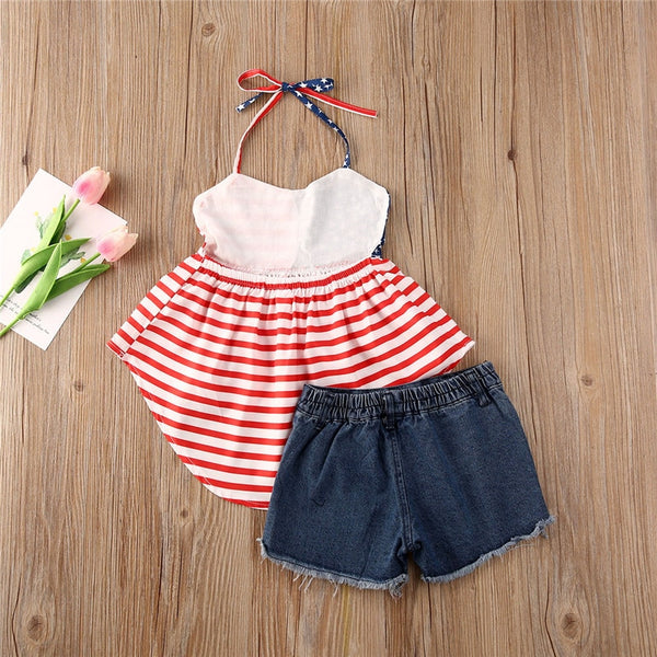 """Red, White and Blue"" Halter and Denim Set"