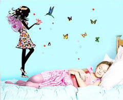 """A Girl With Butterflies"" Wall Decal"