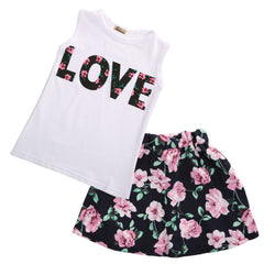 "2 Piece ""Love Girl"" Floral Skirt Set"