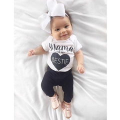 """Mama is My Bestie"" Black Heart Short-sleeve Bodysuit"