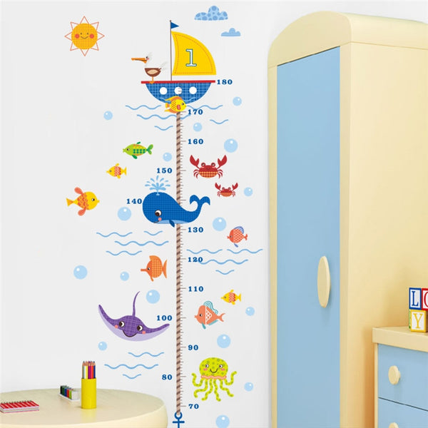 """Fish And A Boat"" Growth Chart Ruler"