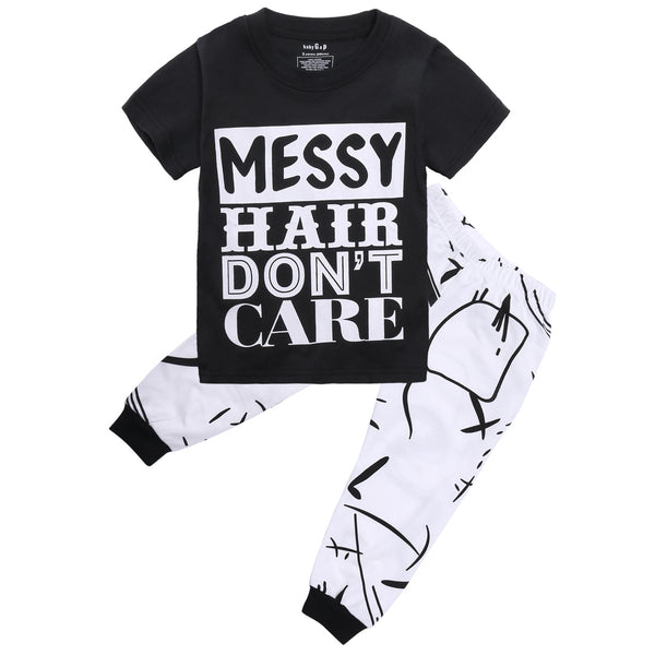"2- Piece ""Messy Hair"" T-shirt and Pants Set"