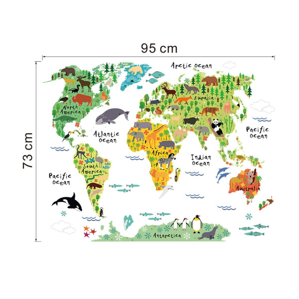 """Animals On A Colorful World Map"" Wall Decal"