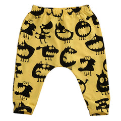 """Little Monsters"" Grey/Yellow Harem Pants"