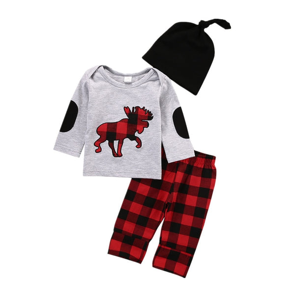 "3 Pieces ""Elk"" Plaid Print Set"