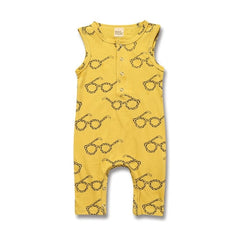 """Glasses"" Yellow Romper"