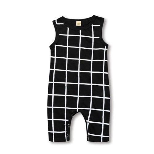 """Checkers"" Black and White Romper"