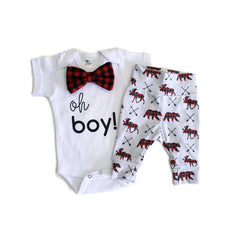 "2 Pieces ""Oh Boy"" Bowtie Set"