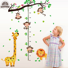 "Multicolor ""Zoo Animals"" Growth Chart Ruler"