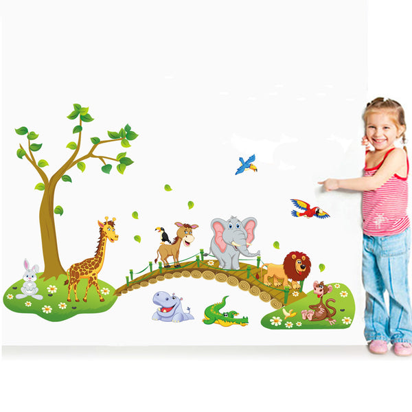 "3D ""Wild Animals In A Jungle"" Wall Decal"