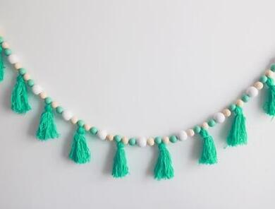 """Bead and Tassels"" Crib Garland"