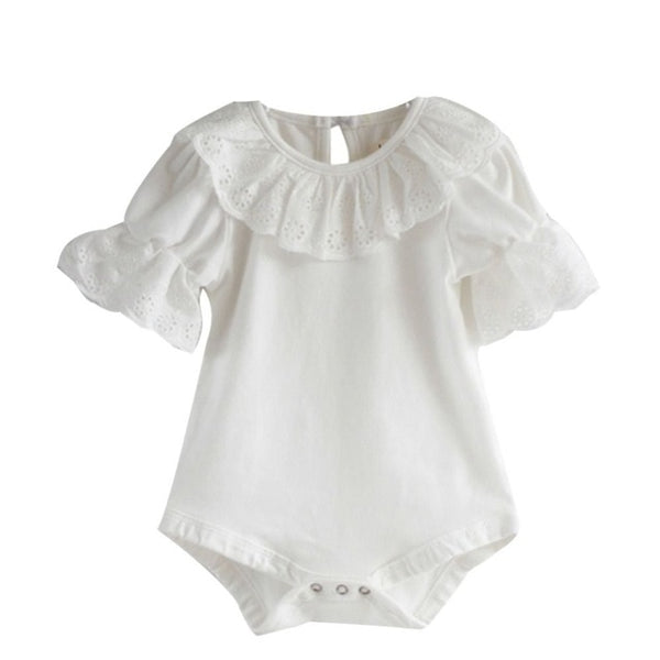 Lace Neckline Infant Solid Bodysuit