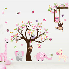 "Large ""Zoo Animals Around The Tree"" Wall Decal"