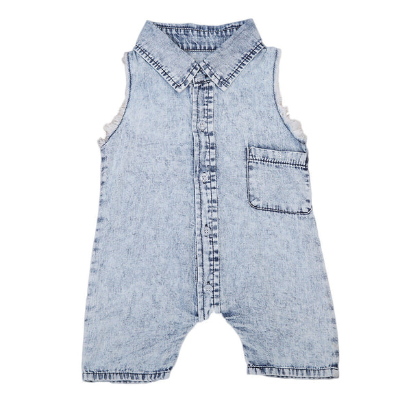 """Blue Denim"" Washed Sleeveless Romper"