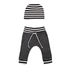 2- Piece Striped Casual Pants and Hat set