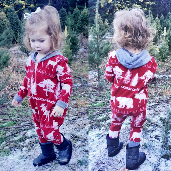 """Christmas Animals""  Print Zip-up Romper"