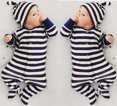 """Striped"" One-Piece Set with Bear Ears Beanie"