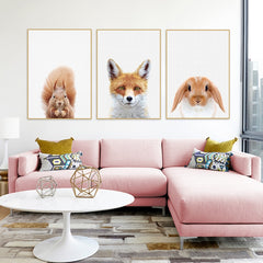 "Animal Heads ""Minimalist"" Nursery Wall Art"