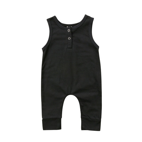 "Basic ""Black"" Sleeveless Onesie"