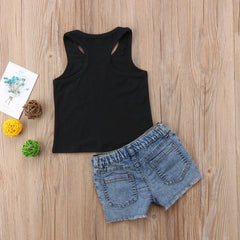 "2 Piece ""Bee Kind"" Tank and Denim Shorts Set"