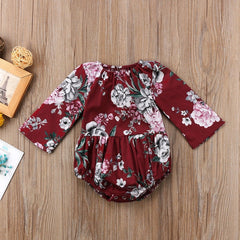"Maroon ""Floral"" Loose-Fit Bodysuit"