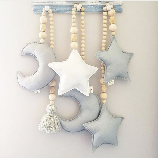 """Moon and Stars"" Nursery Ornaments"