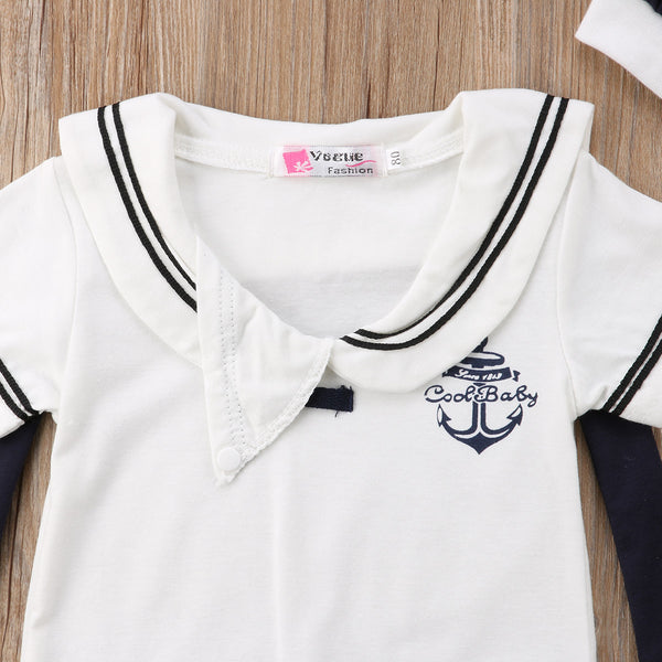 """Sailor"" Romper Set with Hat"