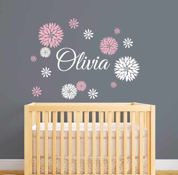 "Custom Name ""Dahlia"" Girls Wall Decal"