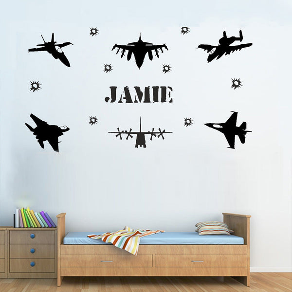 "Custom Name ""Planes"" Boys Wall Decal"