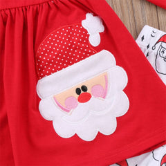 "Girls ""Santa"" Print 3-Piece Set"