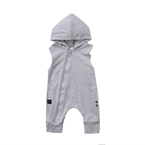 """Side Zip"" Grey Summer Hood Romper"