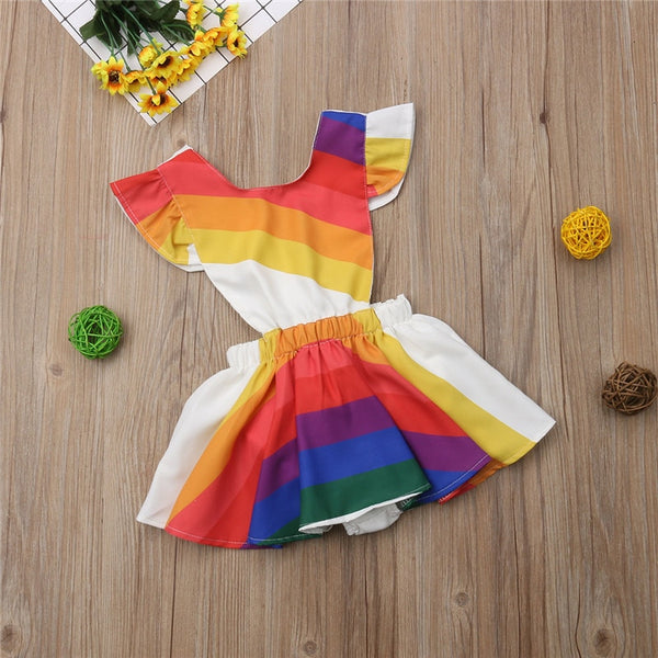 Rainbow Backless Ruffle Dress