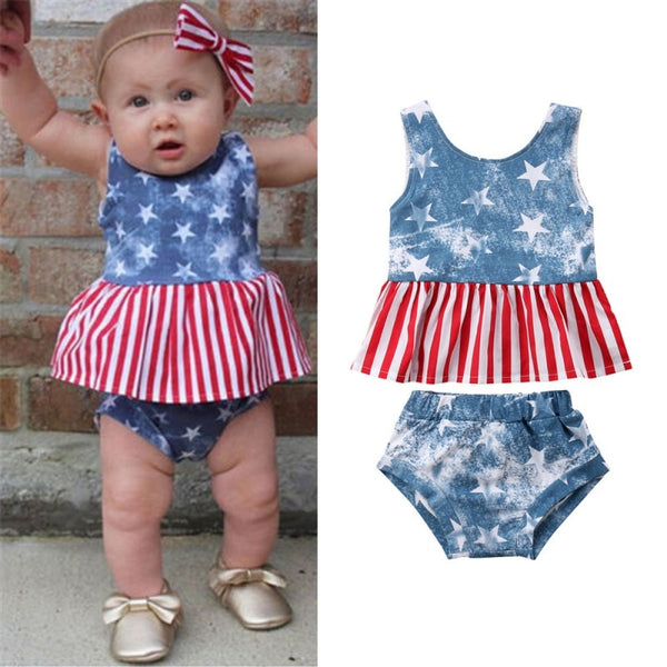 "2 Piece Girly ""Independence Day"" Printed Sunsuit"