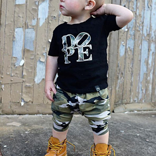 """Dope"" Camo Printed Tee and Pants Set"