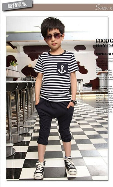 Pudcoco Boy Set 2Y-7Y US Kids Toddler Boys Sailor Outfits Striped Anchor Tops +Half Pant Summer Set