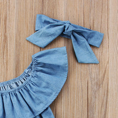 Denim Off-Shoulder Romper Set