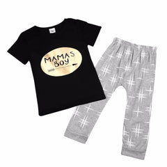 """Mama's Boy"" Print Shirt and Pants Set"