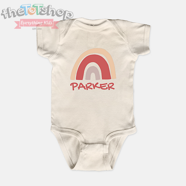 """Rainbow"" Custom Name 100% Cotton Bodysuit"